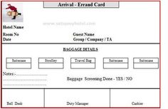 Errand Card Used in Hotels, Arrival and Departure errand card for Hotel Bell Boys