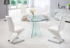 Circular round glass dining table at firstfurniture £159