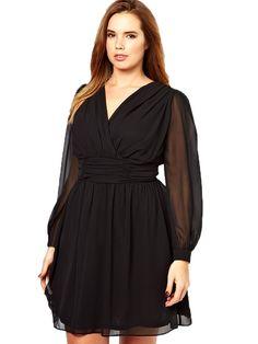 Women Plus Size Deep V Backless Long Sleeve Chiffon Dress