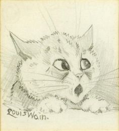 Artwork by Louis Wain, Heads of kitten, Made of pencil