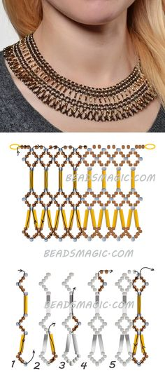 Free pattern for necklace Adriana seed beads 11/0 seed beads 8/0 bugles-szalma gyöngy