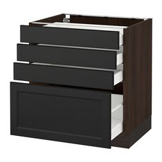 """SEKTION Base cabinet with 4 drawers - wood effect brown, Ma, Laxarby black-brown, 30x24x30 """" - IKEA"""