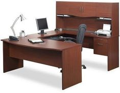 Bestar Harmony U-Shape Executive Workstation with Storage Drawers Modern Office Desk, Office Suite, Office Table, Stylish Office, Home Office Furniture Sets, Diy Home, Home Decor, Work Station Desk, Furniture Manufacturers