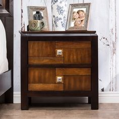 Furniture Of America Anteia Duo Tone Acacia And Walnut 2 Drawer Nightstand By