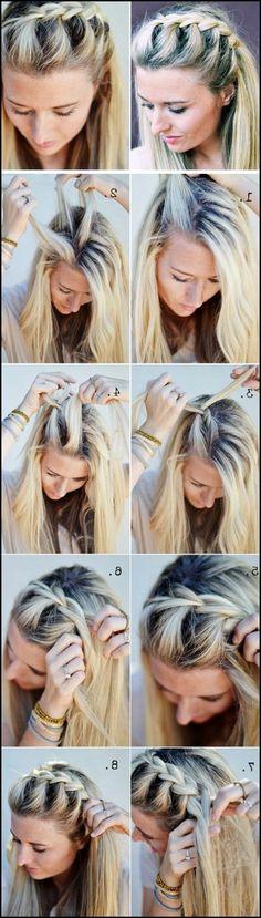 Flechtfrisuren für mittellange Haare selber machen - die schönsten ... #Frisuren #HairStyles 30+ Coole Pferdeschwanz Frisur für Partys