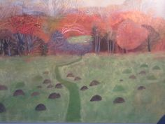 Elaine Pamphilon - nature reserve with molehills and cowslips mixed media on canvas 80 x 100 cm