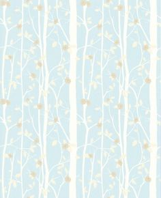 Cottonwood Duck Egg (3534845) - Laura Ashley Wallpapers - A delightful tree effect, with silhouettes of leafy branches - available in several colouways - shown here in the soft duck egg blue green version with little beige flower highlights. Please request sample for true colour match.