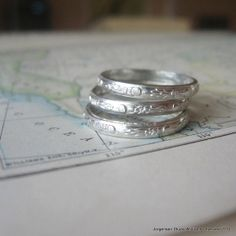 Stacking Rings Sterling Silver Moon Flowers by jorgensenstudio, $42.00