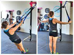 A 15 minute back workout using a suspension trainer such as a TRX or Jungle Gym straps. Trx Workouts For Women, Ab Workout For Women At Home, Trx Full Body Workout, Gym Workout Videos, Rings Workout, Kettlebell Abs, Kettlebell Challenge, Trx Training, Strength Training Workouts