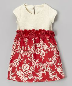 Look at this Caught Ya Lookin' Red Floral Satin Shift Dress - Infant