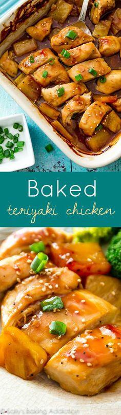 EASY baked chicken teriyaki dinner: Simply pour this homemade teriyaki sauce over chicken and bake!!