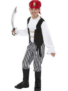 Piraattipoika. Naamiaisasuina merirosvoteemaan liittyvät asut ovat suosittuja niin aikuisten kuin lastenkin keskuudessa. Poikien piraatti naamiaisasu on hieno asukokonaisuus, joka varmasti on pienten merirosvosankareiden mieleen.
