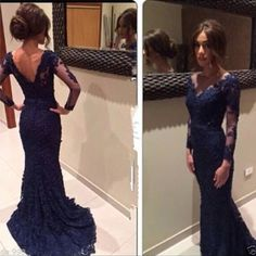 Navy Blue Lace Prom Dress with Sweep Train,Long Sleeve Mermaid Prom Dress,V neck Prom Gown 1718
