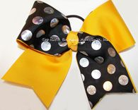 Tic Toc Yellow Black Foil Big Cheer Bow Big Cheer Bows, Cheer Hair Bows, Cheerleading Bows, Girl Hair Bows, Baptism Headband, Newborn Headbands, Yellow Black, Black Silver, Competition Bows