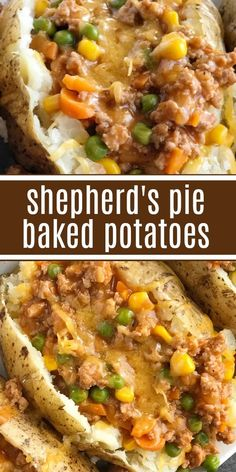 Shepherd's Pie Baked Potatoes | Dinner Recipe | Shepherd's Pie | Everything you love about the classic shepherd's pie in baked potato form. A delicious shepherd's pie filling of ground turkey, seasonings, beef broth, and veggies gets loaded on top of a soft potato and topped with shredded cheese. Baked Potato Dinner Recipe, Baked Potato Toppings, Baked Potato Recipes, Beef Recipes, Cooking Recipes, Loaded Baked Potatoes, Recipes Using Beef Broth, Turkey And Potato Recipe, Healthy Baked Potatoes