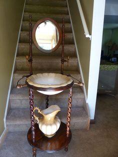 Antique Wash Basin Stand w/ wash bowl and pitcher   #starisland #sink