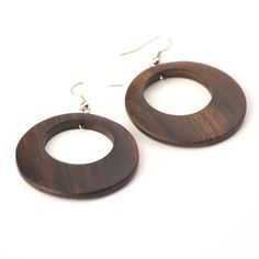 Brown sono 45 mm earrings coco wood wooden silver by 81stgeneration