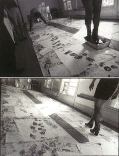 Maison Martin Margiela June/September 1991  As in the very first show, a white cotton runway was stained with red tabi-boots footprints and cut in order to make t-shirts.