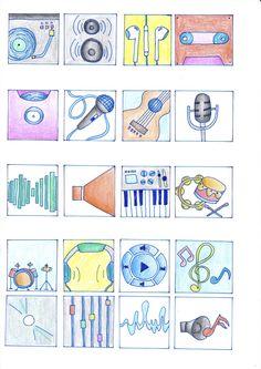 """Schetsen eerste 20 icoon ideeën """"muziek"""""""