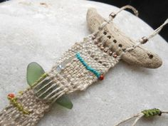 Driftwood Necklace *long beach story* - Loom woven Tapestry Miniature with Linen, Driftwood and Beach Finds - fiber art jewelry