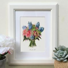 A beautiful hand illustration of your wedding bouquet, using coloured inks and watercolours. First Wedding Anniversary, Personalized Wedding Gifts, Hand Illustration, Paper Gifts, Beautiful Hands, Etsy Store, Wedding Bouquets, How To Draw Hands, Floral Wreath