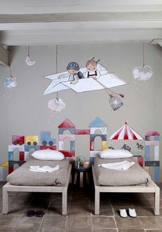 Love this wall decor especially for a room shared by a brother and sister