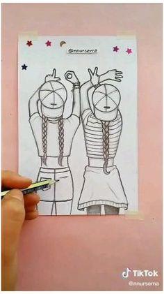 Cute Easy Drawings, Drawings Of Friends, Art Drawings Beautiful, Girly Drawings, Art Drawings For Kids, Art Drawings Sketches Simple, Girl Drawing Sketches, Pencil Art Drawings, Disney Drawings Sketches