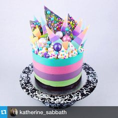 I mean….are you kidding me? This cake is ridiculous!! @katherine_sabbath has the most amazing cakes and style. Loved that she used our black marble #enamelware #cakestand #Repost from @katherine_sabbath — Hey Unicorn Cheesecake!  Quadruple layered & flavoured - A coconut, strawberry, vanilla bean & pistachio rainbow cheesecake on an Oreo cookie base.  I bought this awesome monochrome splatter cake stand from @crowcanyonhome  http://ift.tt/1rQvJlU