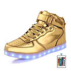 5ccf537604b78 AFFINEST High Top USB Charging Light Up Shoes LED Shoes Flashing Fashion  Sneakers For Kids Boots(Little Kid Golden)  Size Table  brfoot length  brfoot length ...