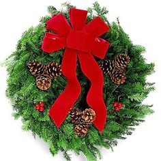 Ribbons and Bows for Christmas Wreaths - Red Velvet: Traditional red velvet adorns this wreath. Make sure the bow is crisp and fresh -- wired ribbon will allow you to adjust the bow and tails to the desired curves.