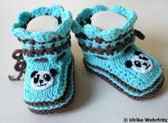 Babyschuhe Panda von stricklienes lädchen auf DaWanda.com