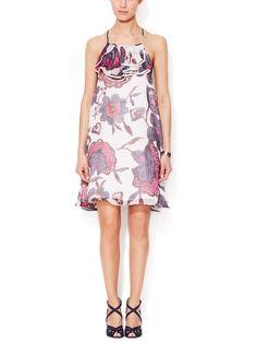 Silk Printed Ruffle Dress from Throw On