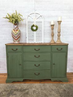 Green Painted Buffet - Painted in a mix of Annie Sloan Olive, Aubusson Blue & Florence