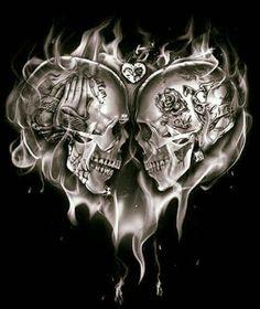 Skullnique/Skull products for skull lovers Skull Couple Tattoo, Skull Rose Tattoos, Body Art Tattoos, Tattoo Drawings, Sleeve Tattoos, Tatoos, Los Muertos Tattoo, Totenkopf Tattoos, Tattoo Sketches