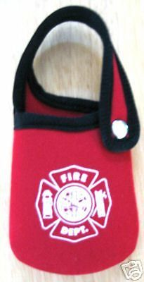 FIRE DEPARTMENT RED NEOPRENE POUCH  WITH SNAP CLOSURE AND MALTESE CROSS DESIGN