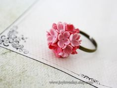 Adjustable Ring flowers ring vintage ring  jewelry  by Joyloveclay, $15.00