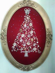 Vintage COSTUME JEWELRY Christmas Tree PINS OOAK Framed Art  | eBay
