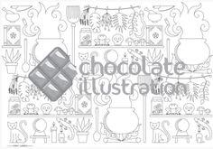 """""""El laboratorio de la bruja"""" de Ana Línea, en su versión para colorear. Nos encanta esta ilustración, ¿te apetece pintarla? Descárgala en https://chocolateillustration.com/ilustraciones/el-laboratorio-de-la-bruja/ #chocolateillustration #dibujosparapintar #colorear #yocoloreo #analinea #ellaboratoriodelabruja"""