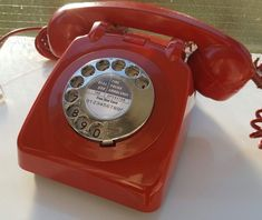 Original Vintage Retro 1960's GPO 706 Rotary Dial Red Telephone Restored