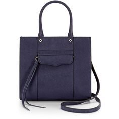 Rebecca Minkoff M.A.B. Tote Mini ($130) ❤ liked on Polyvore featuring bags, handbags, tote bags, structured tote bag, structured tote, mini purse, blue handbags and miniature purse