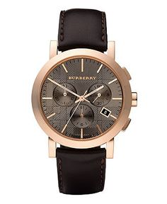 Burberry Watch, Men's Chronograph Brown Leather Strap 45mm BU1863 - All Watches - Jewelry & Watches - Macy's