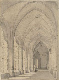 Kloostergang bij de Domkerk te Utrecht, Johannes Jelgerhuis, 1827