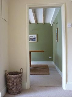 Walls in Olive & String, Wood Work in Off White Farrow and Ball