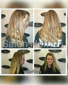 Caramel blonde lowlites with white chocolate hilites make her hair look soft and luxurious! Call Salon Naman to make your appointment with Lacey! 803-327-9242