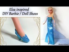 How to; Barbie/Doll Shoes; Elsa inspired (Frozen) Tutorial - YouTube