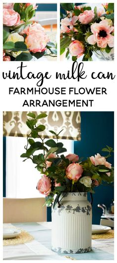 Vintage Farmhouse Decor Vintage Milk Can Farmhouse Flower Arrangement - See how I made a simple flower arrangement Simple Flowers, Fake Flowers, Diy Flowers, Indoor Flowers, Hanging Flowers, Winter Flowers, Bridal Flowers, Flowers Garden, Flower Ideas