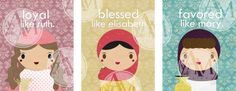 Super Bible Chicks 2Elisabeth Mary RuthDigital by puexican on Etsy,