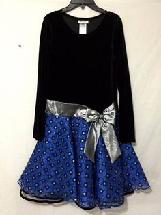 Girls 16 Bonnie Jean Velvet drop waist dress Royal Blue Black organza Christmas #BonnieJean #ChurchPartyChristmasDressyHolidayPageantWedding