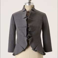 TABITHA Anthropologie Jacket 0 Beautiful Terrace House Jacket in a beautiful shade of Gray. The ruffles are a very feminine and flattering touch to the jacket. Only worn twice. In excellent condition! Anthropologie Jackets & Coats