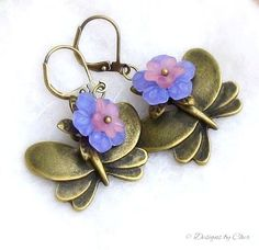 Floral Butterfly Earrings Periwinkle and Pink by DesignsbyCher #jewelryonetsy #Spring2015 #jewelrytrends
